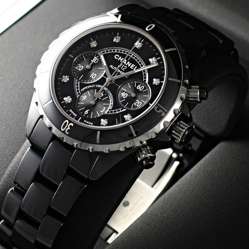 [추가비용없음] 샤넬 CHANEL J12 Black Ceramic Mens Watch H2419